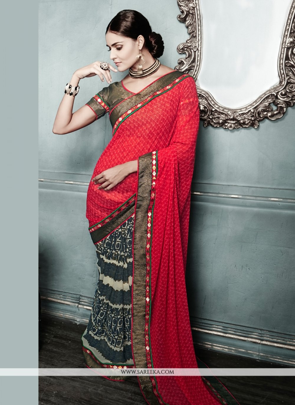 Red And Black Georgette Casual Saree