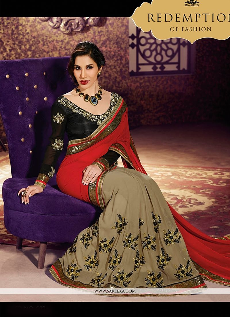 Red And Black Weight Less Designer Saree