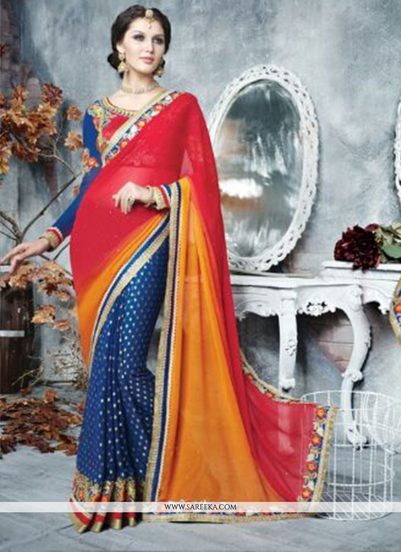 Red And Blue Georgette Designer Saree