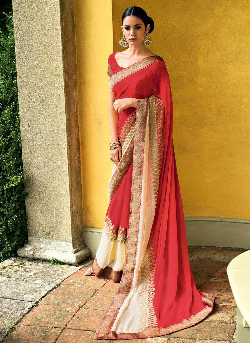Red And Cream Chiffon Saree
