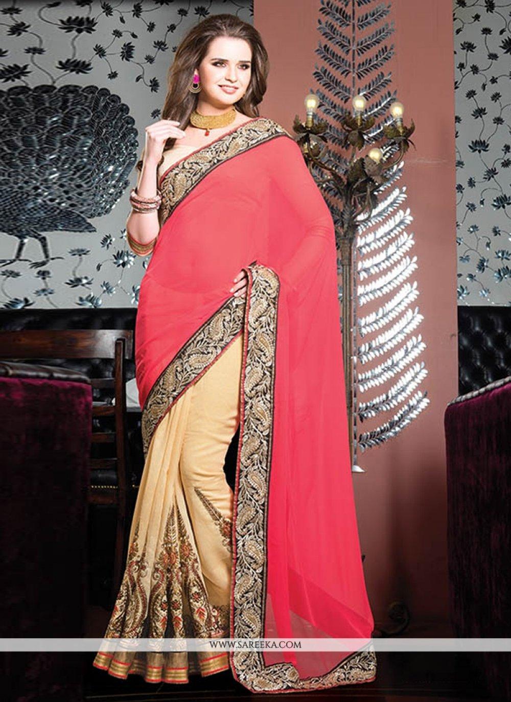 Red And Cream Cotton Designer Saree