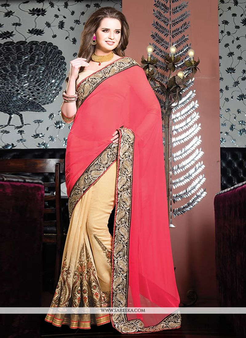 Red And Cream Cotton Designer Saree