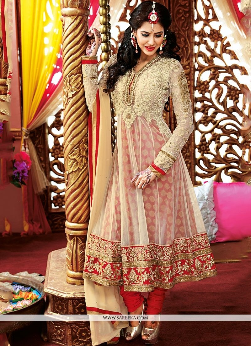 Red And Cream Embroidery Net Georgette Anarkali Suit