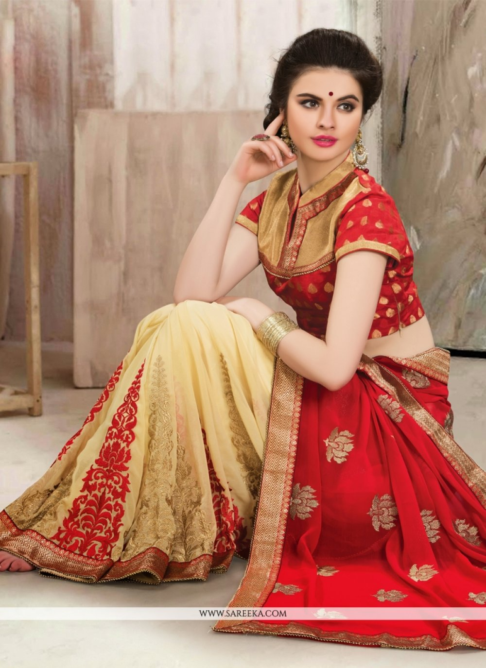 Red And Cream Faux Chiffon Half And Half Saree