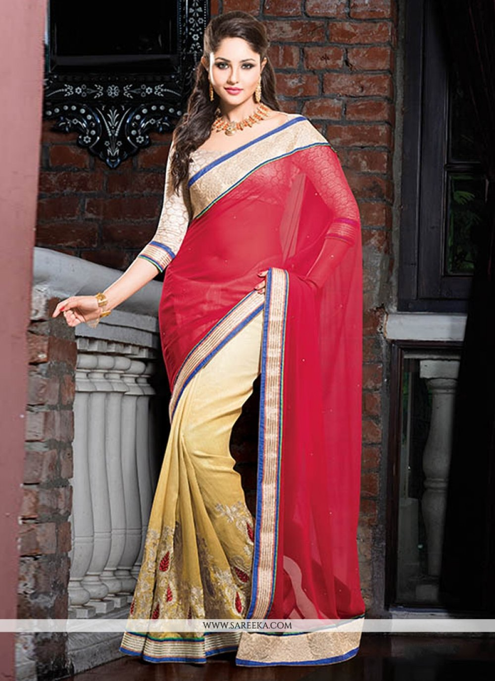 Red And Cream Georgette And Cotton Saree