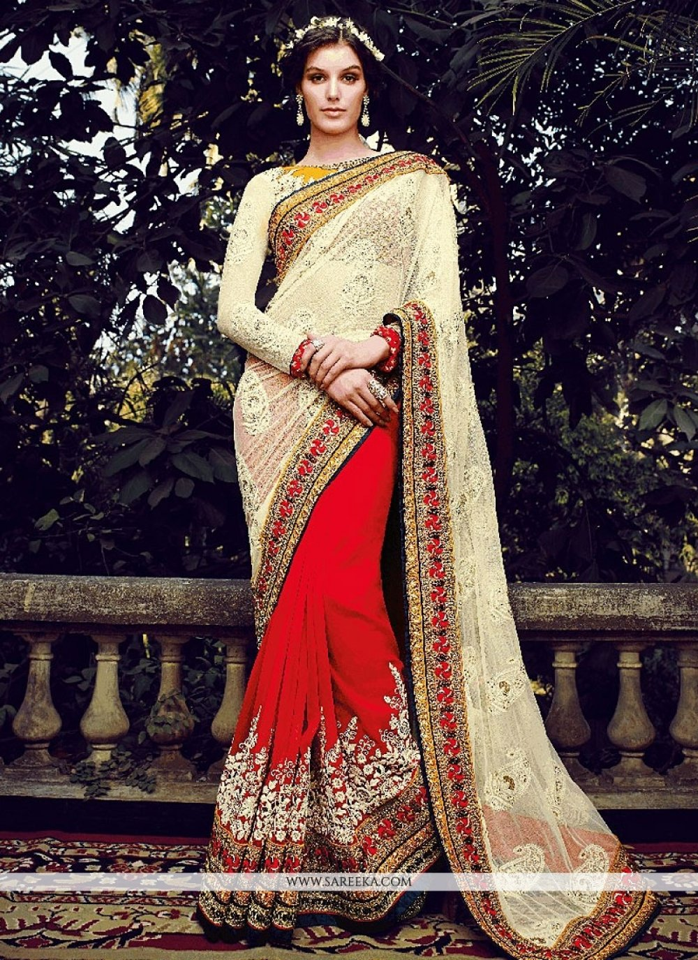 Red And Cream Georgette And Net Designer Saree