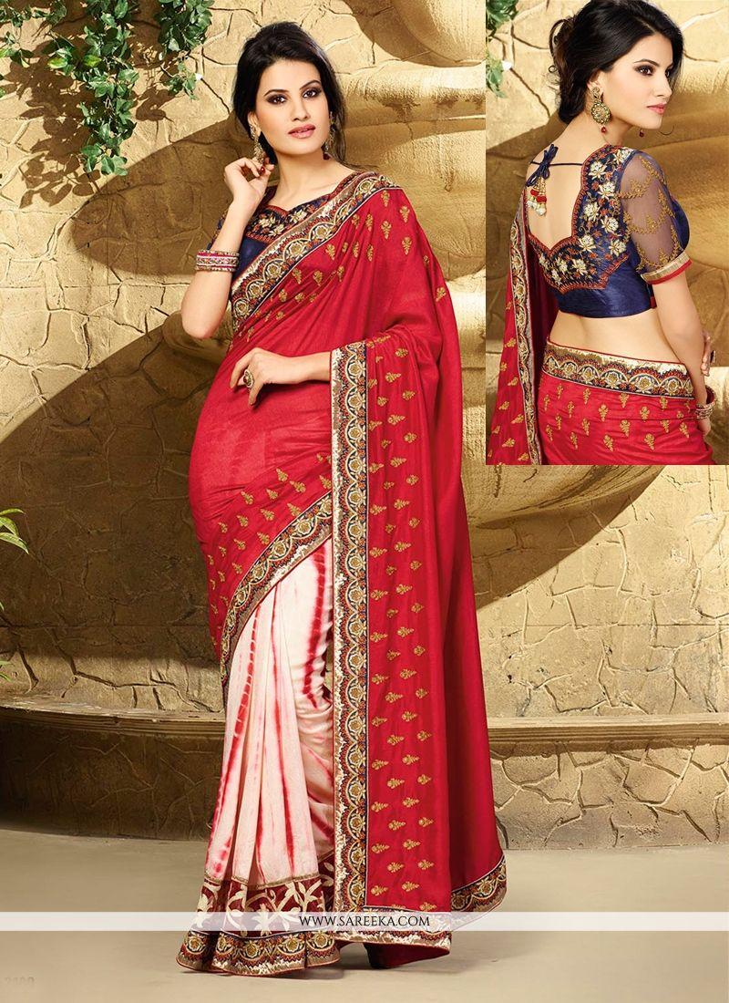Red And Cream Jacquard Designer Saree