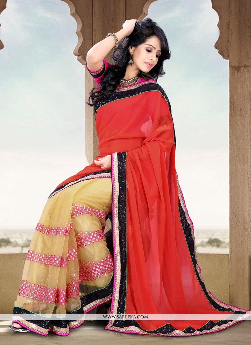 Red And Cream Net And Georgette Half And Half Saree