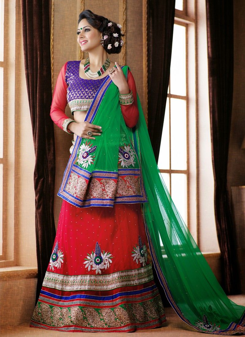 Red And Green Embroidery Work Net Lehenga Choli
