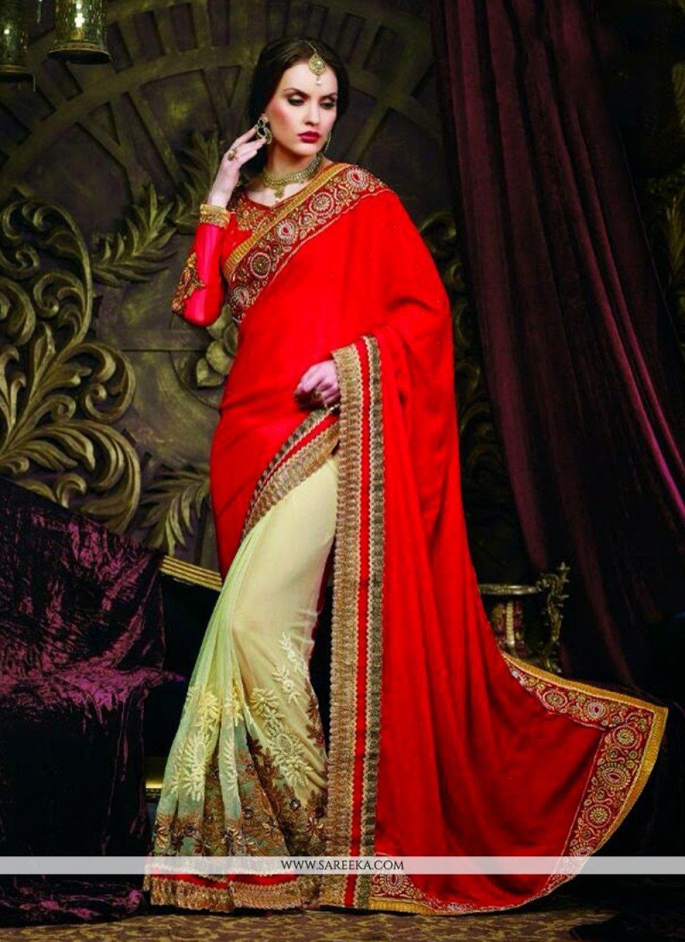 Red And Green Net And Banarasi Saree