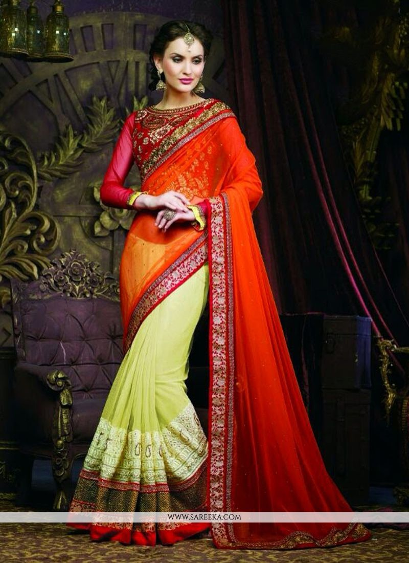 Red And Green Soft Net Designer Saree