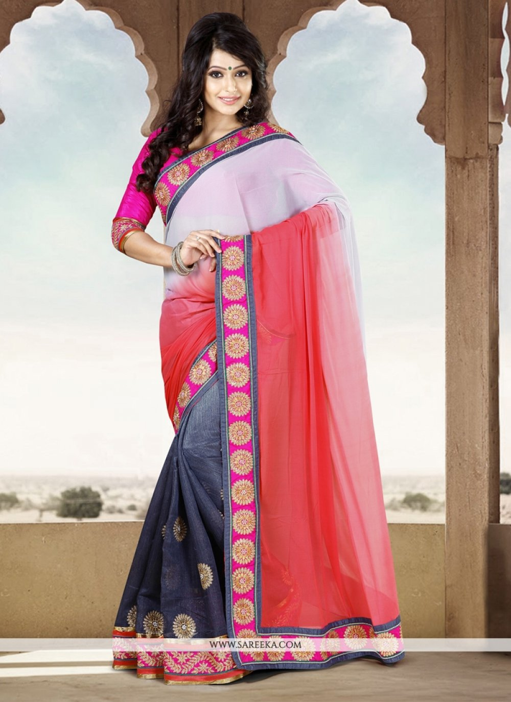 Red And Grey Chiffon And Cotton Saree