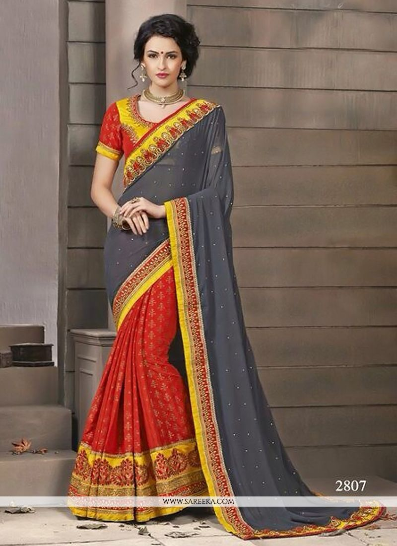 Red And Grey Georgette And Jacquard Silk Saree