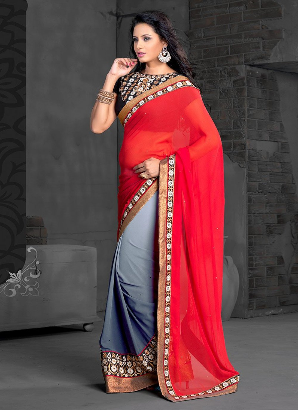 Red And Grey Georgette Half And Half Saree