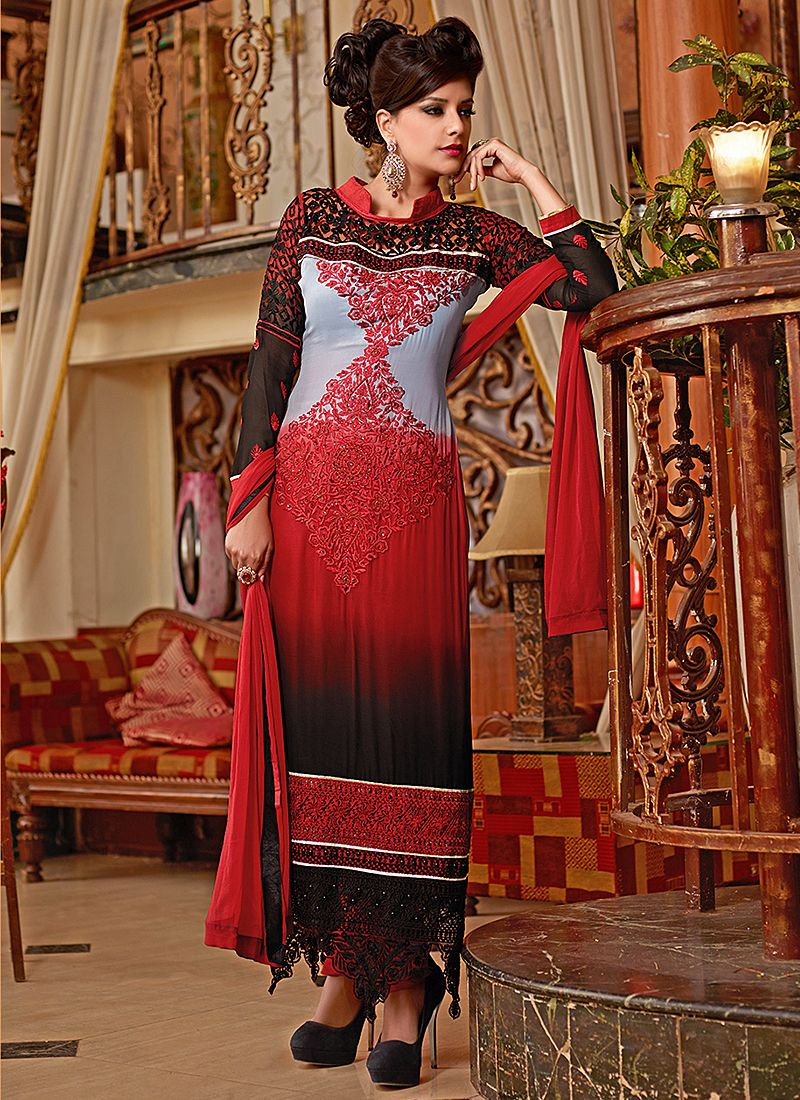Red And Grey Resham Work Net Churidar Suit