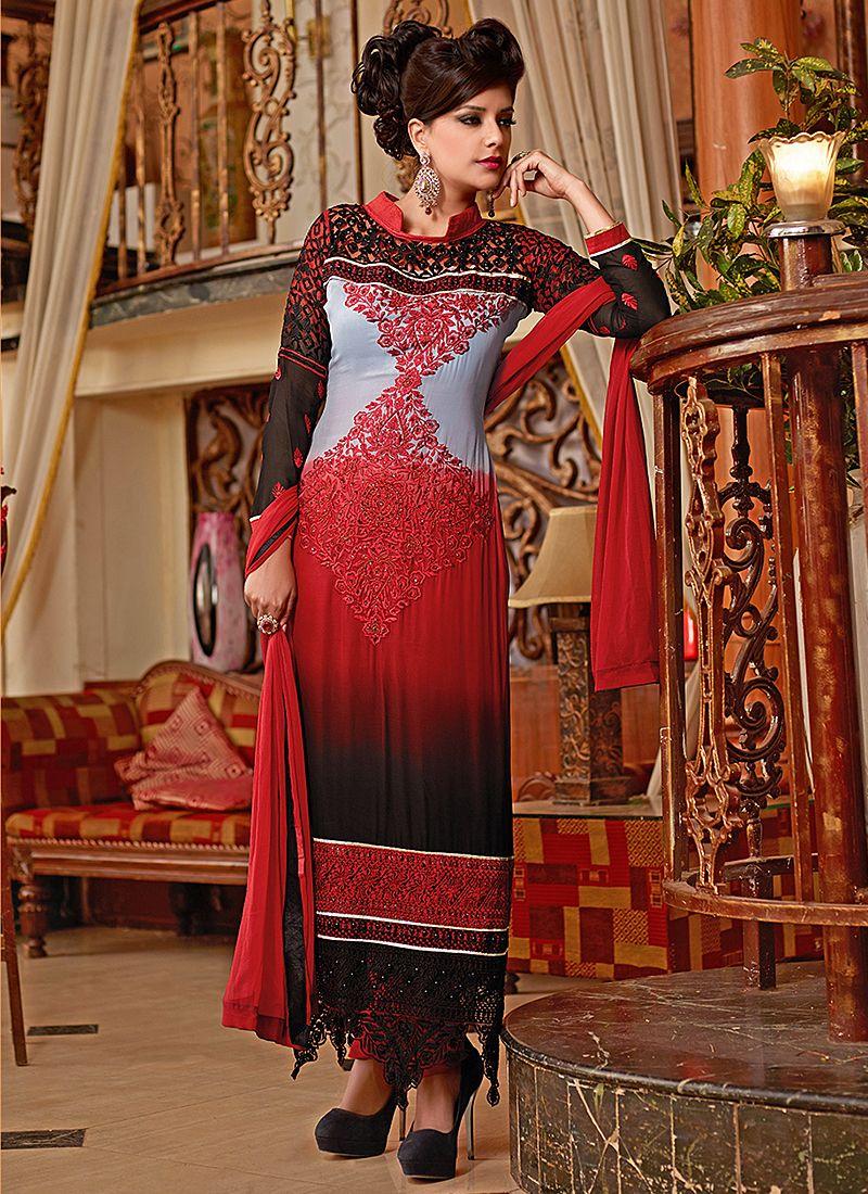Red And Grey Resham Work Net Churidar Suit