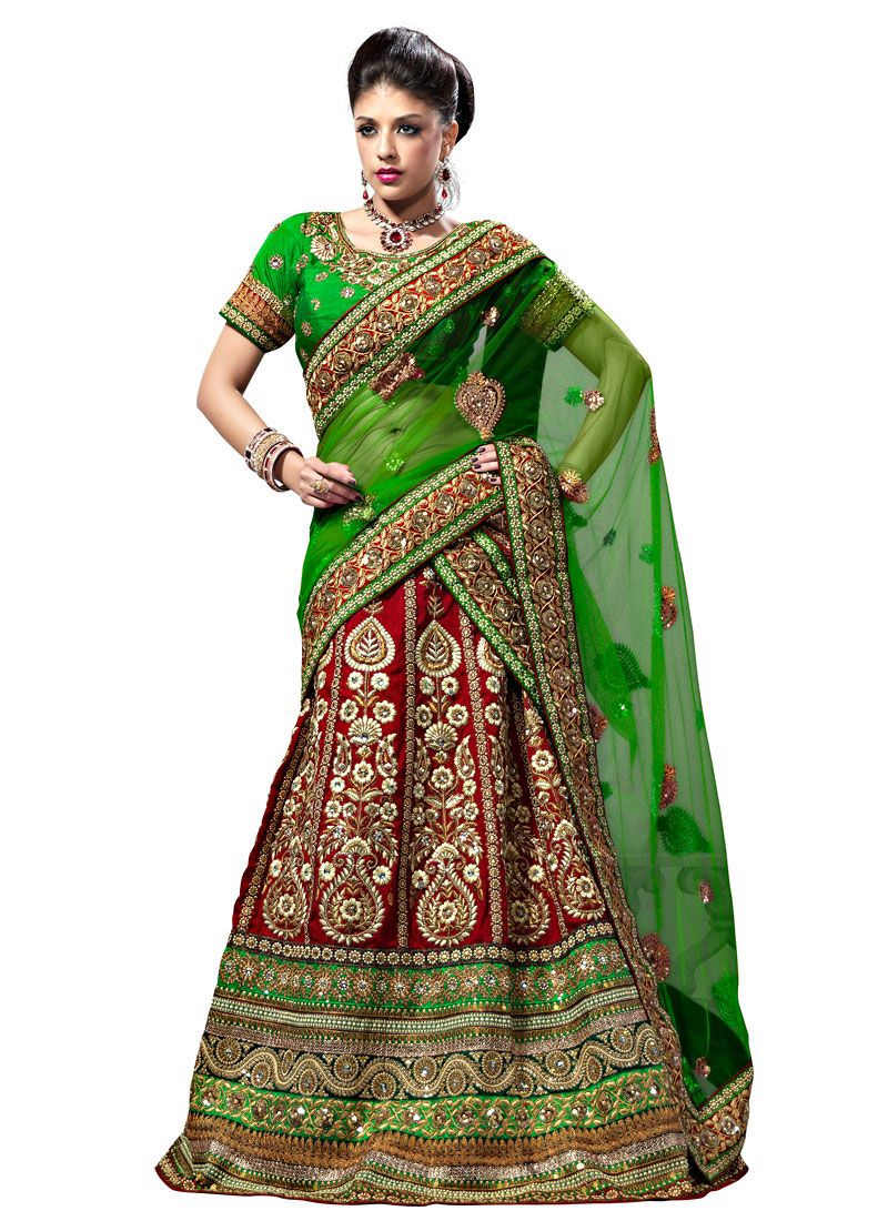 Red and Light Green Art Raw Silk A Line Lehenga Choli