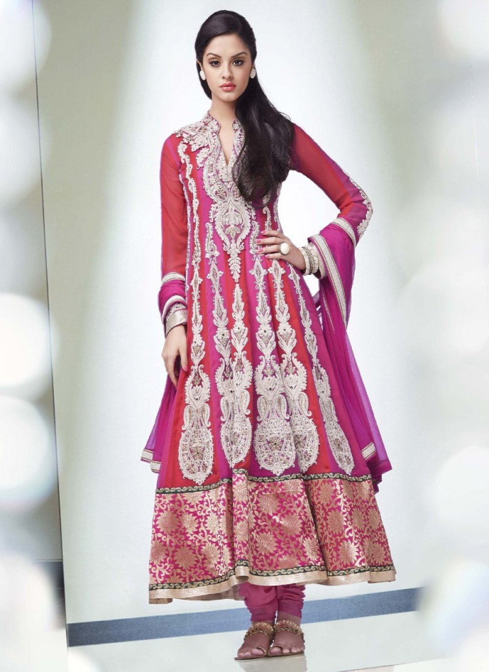 Red And Magenta Embroidery Work Georgette Wedding Anarkali Suit