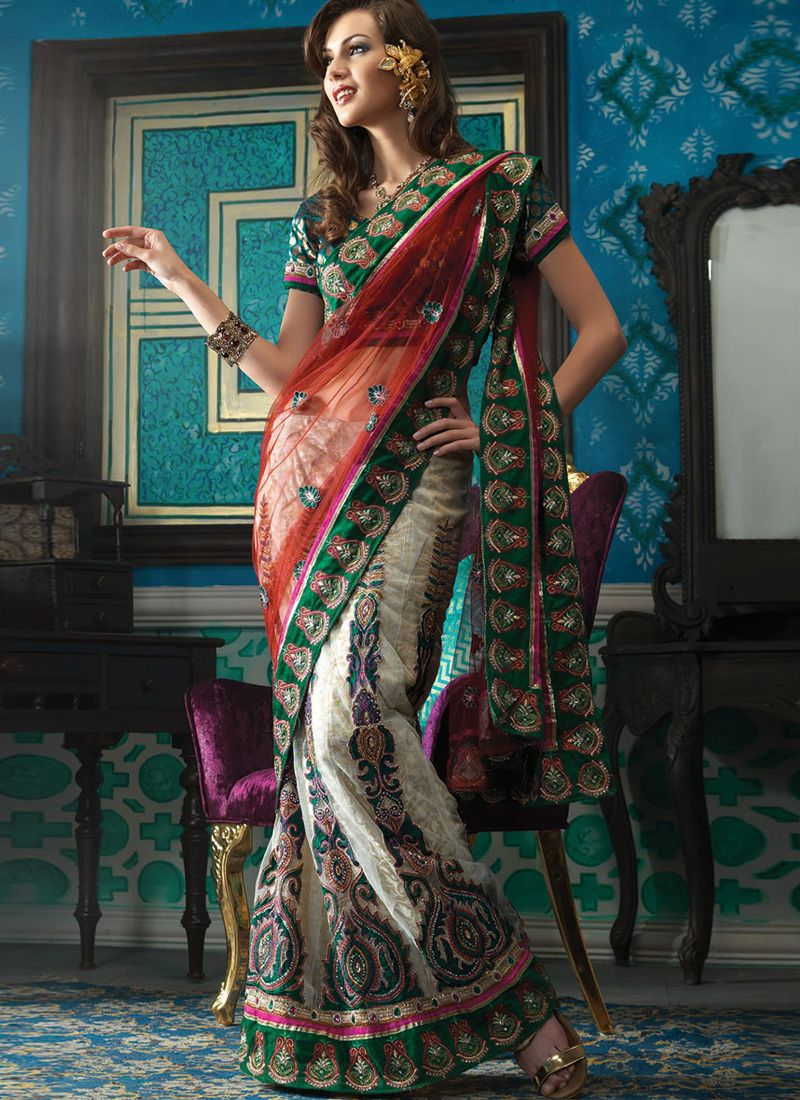 Red And Off White Net And Jacquard Lehenga Saree