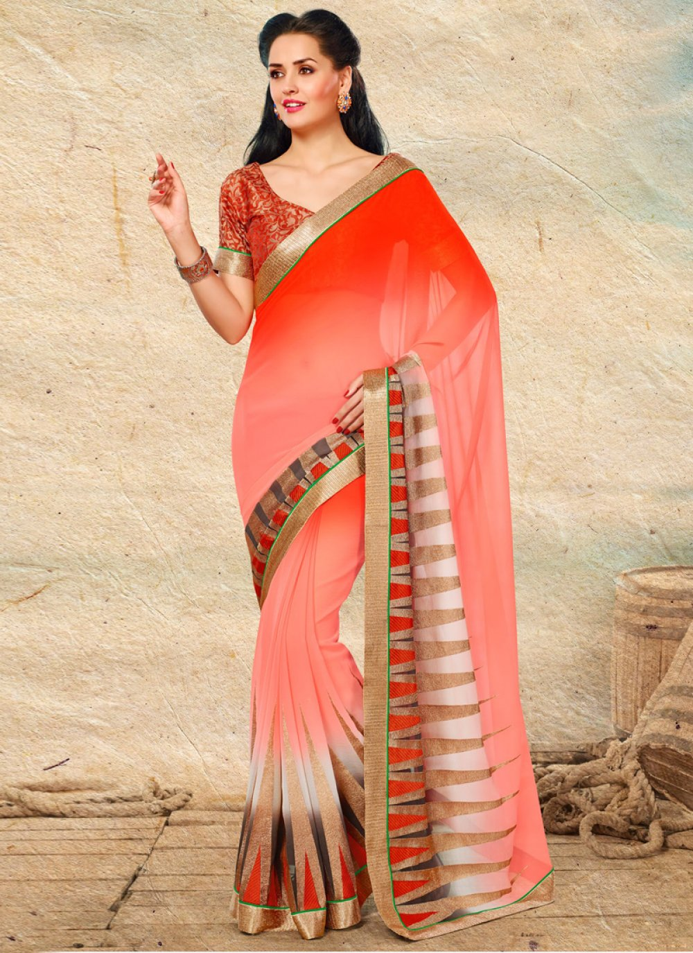Red And Off White Shaded Chiffon Saree