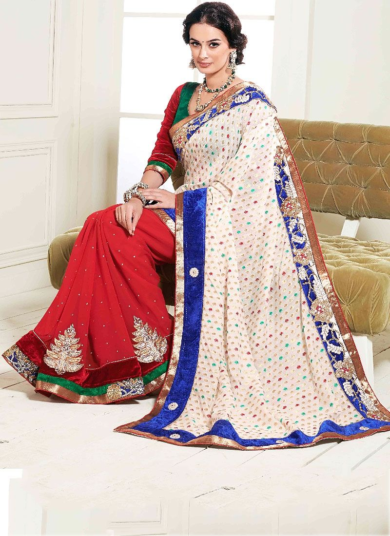 Red And Off White Zari Work Georgette Designer Saree