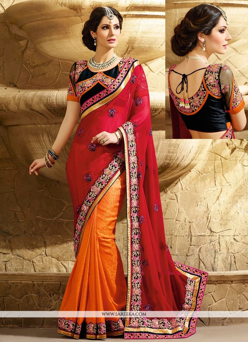 Red And Orange Georgette Jacquard Saree