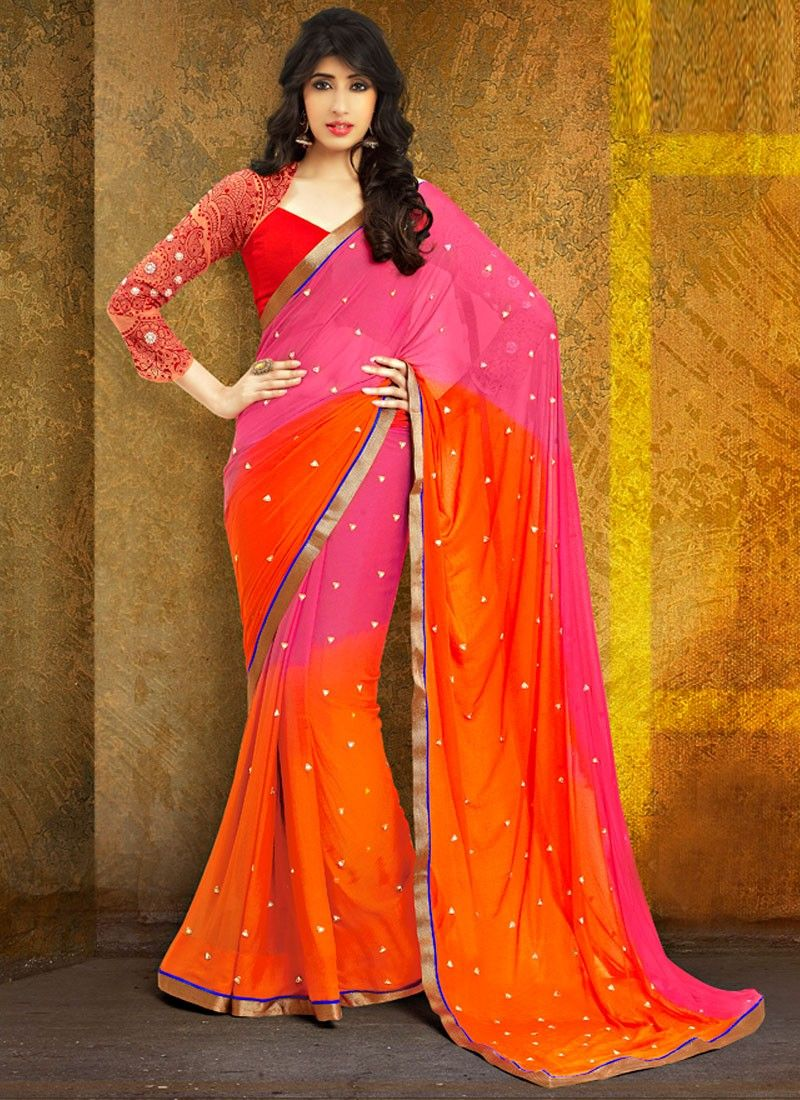 Red And Orange Patch Border Half And Half Saree