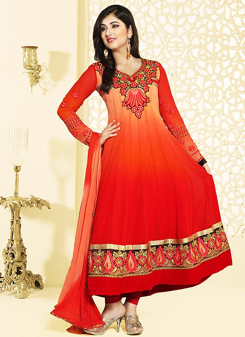 Red And Orange Zari Work Anarkali Salwar Kameez