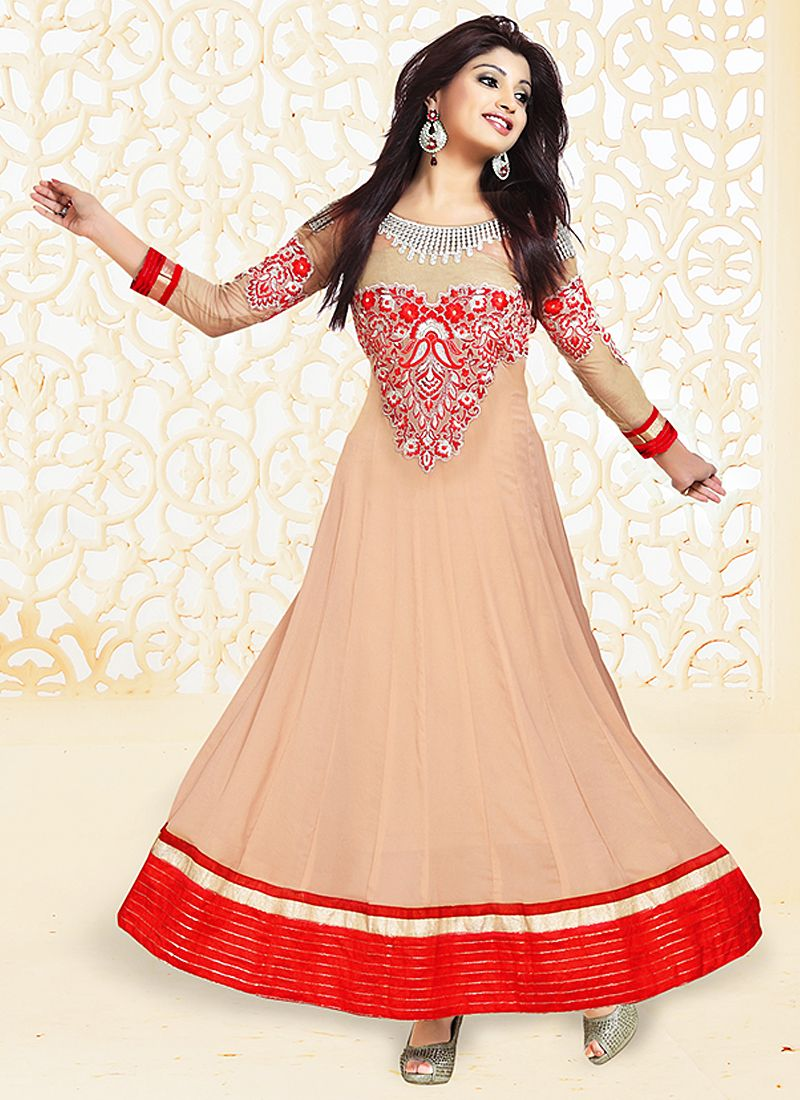 Red And Peach Embroidery Work Anarkali Suit
