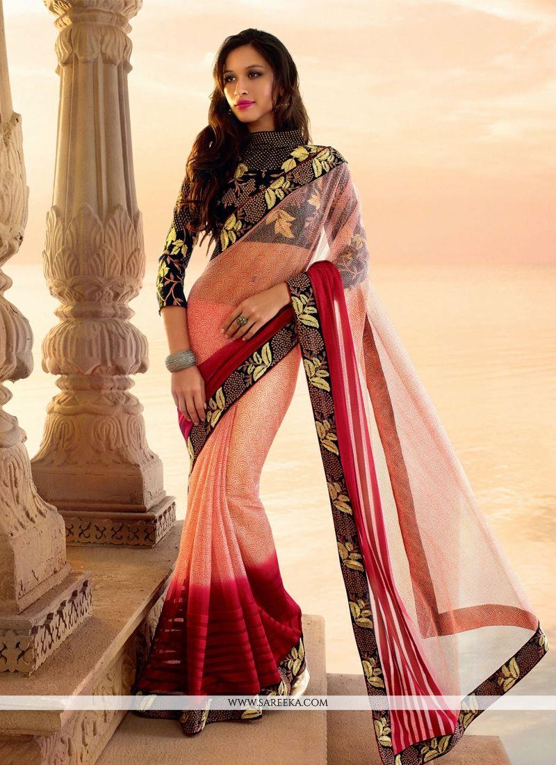 Red And Pink Net Designer Saree