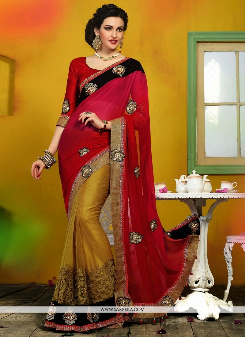 Red And Pink Shaded Chiffon Satin And Velvet Saree