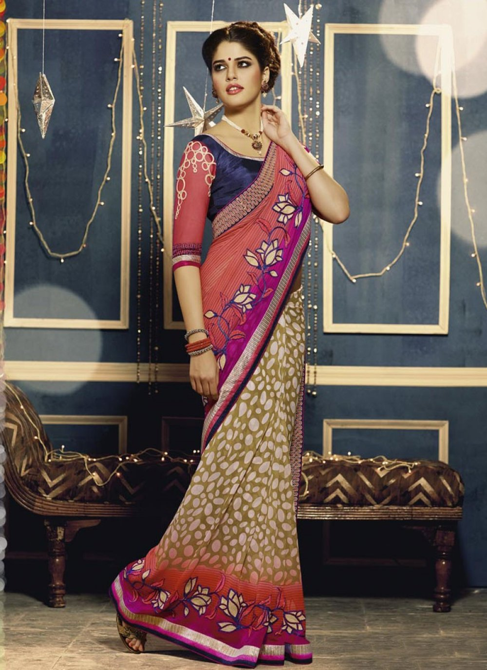 Red And Pink Shaded Party Wear Saree