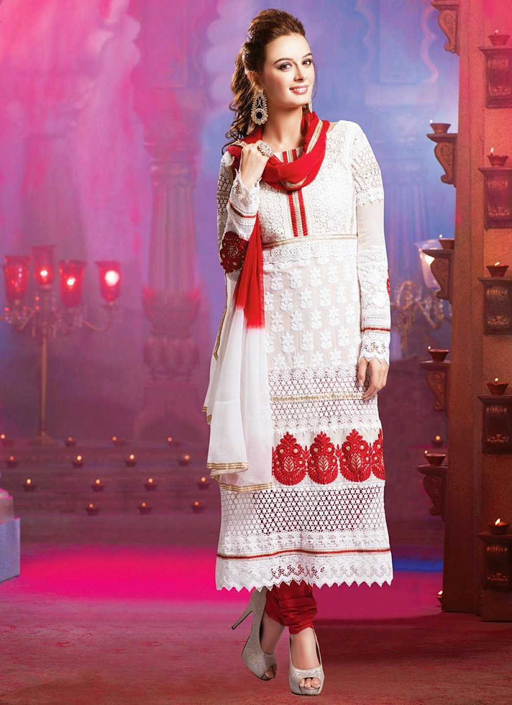 Red And White Embroidery Work Net Churidar Suit