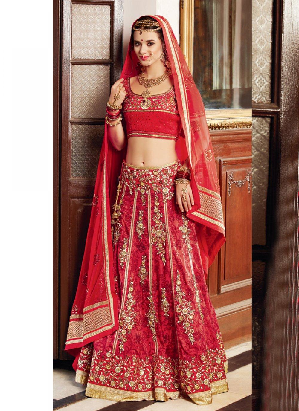 Red Banarasi Silk Wedding Lehenga Choli