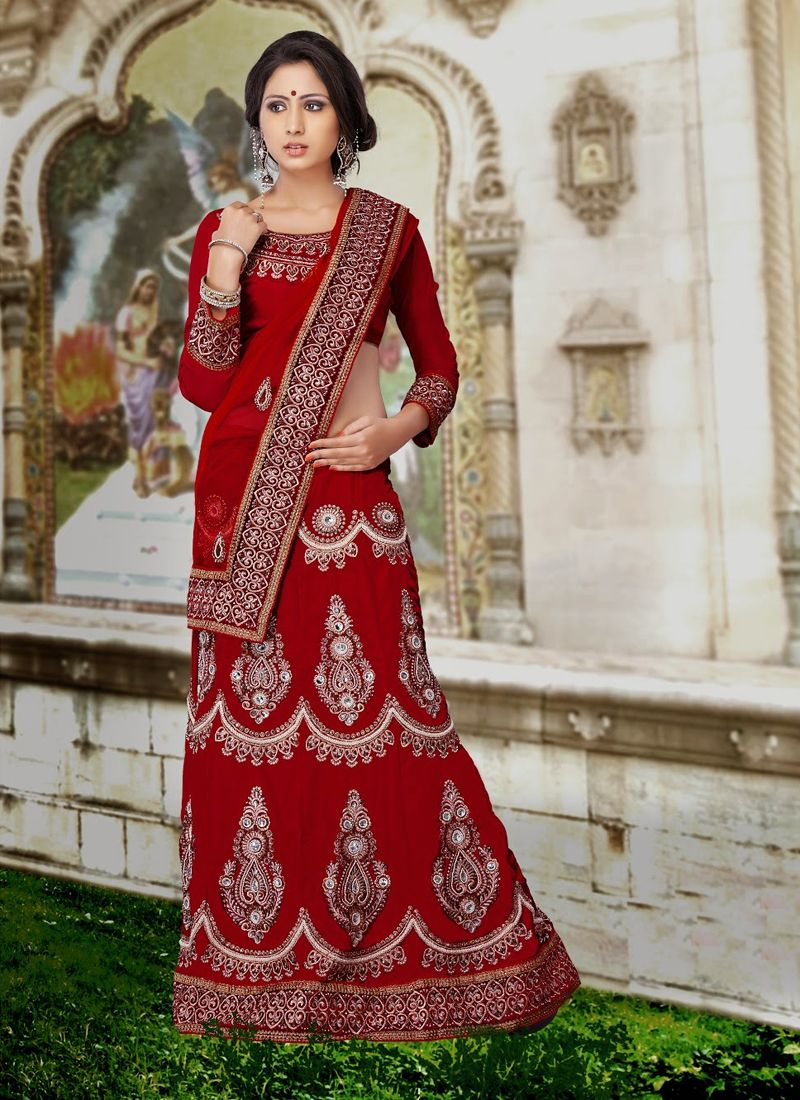 Red Color Net Shaded Velvet Lehenga Choli