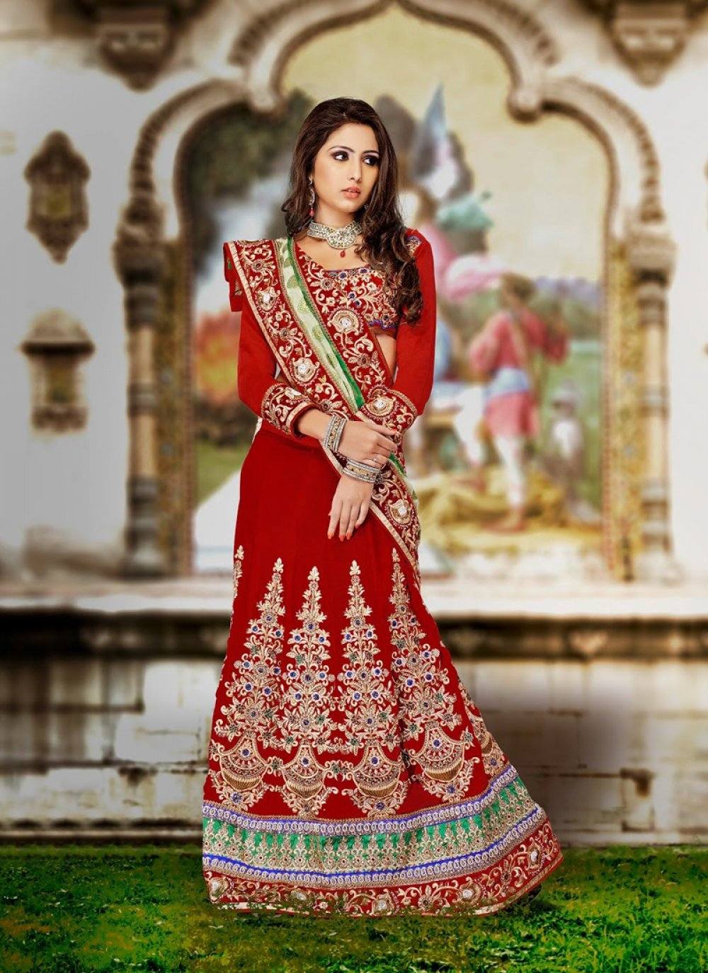 Red Color Velvet Lehenga Choli