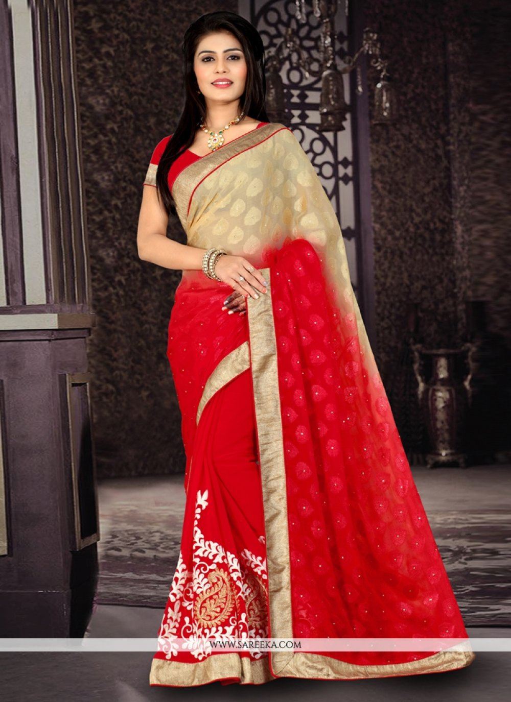 Red Embroidered Work Jacquard Designer Saree