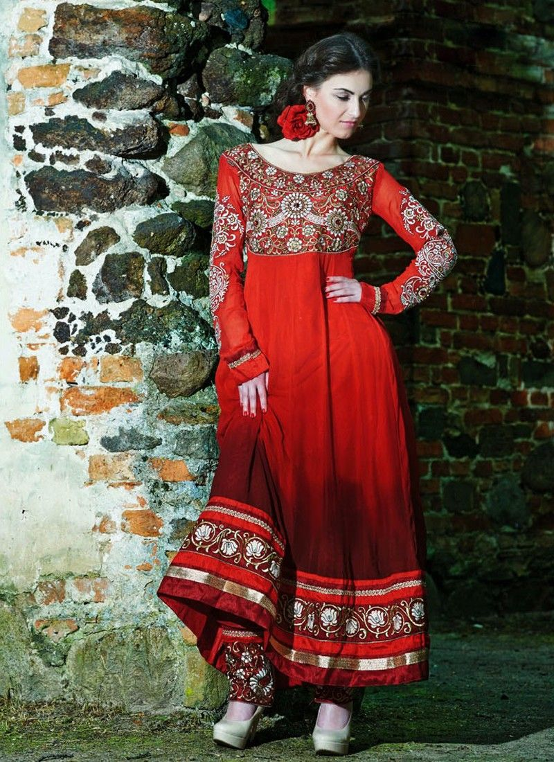 Red Embroidery Border Work Anarkali Suit