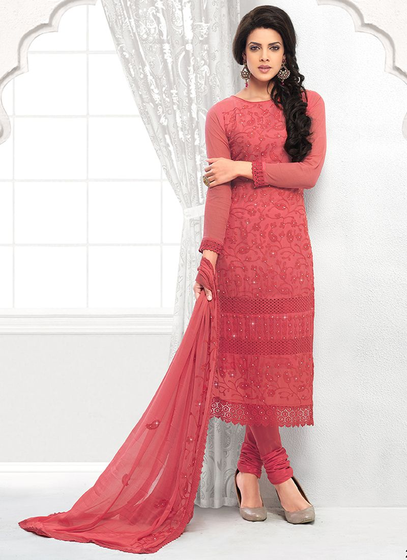 Red Embroidery Pure Chiffon Churidar Suit