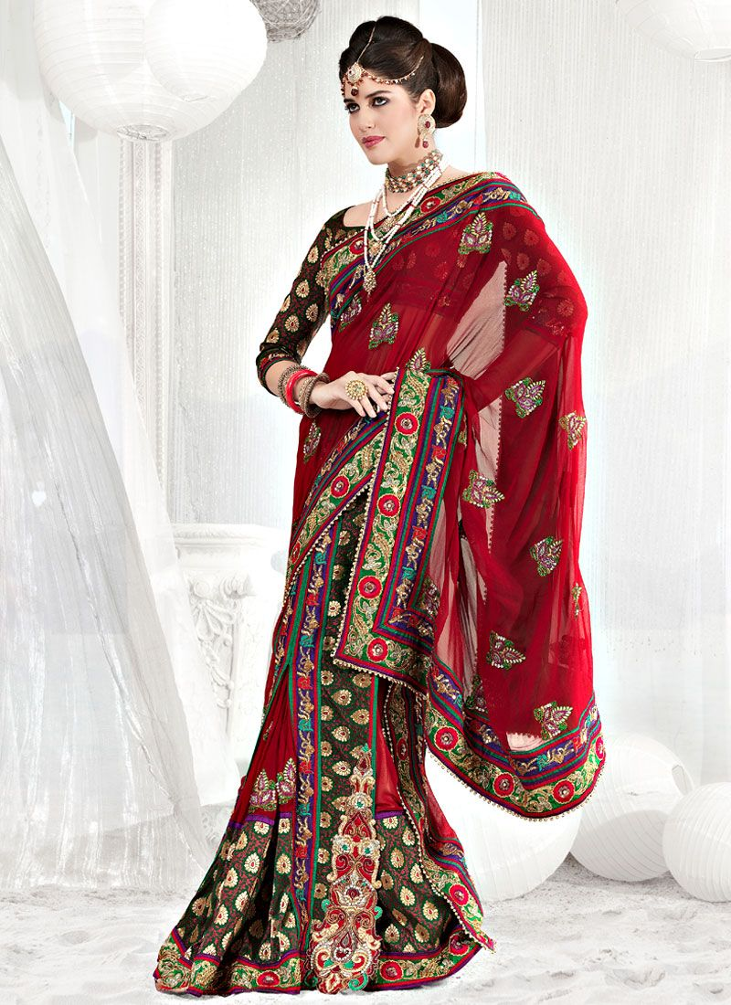 Red Faux Georgette and Viscose Saree