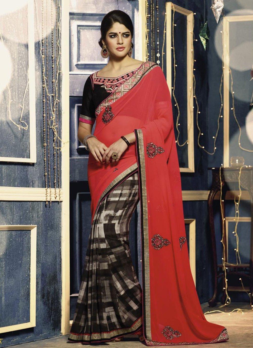 Red Georgette Designer Saree