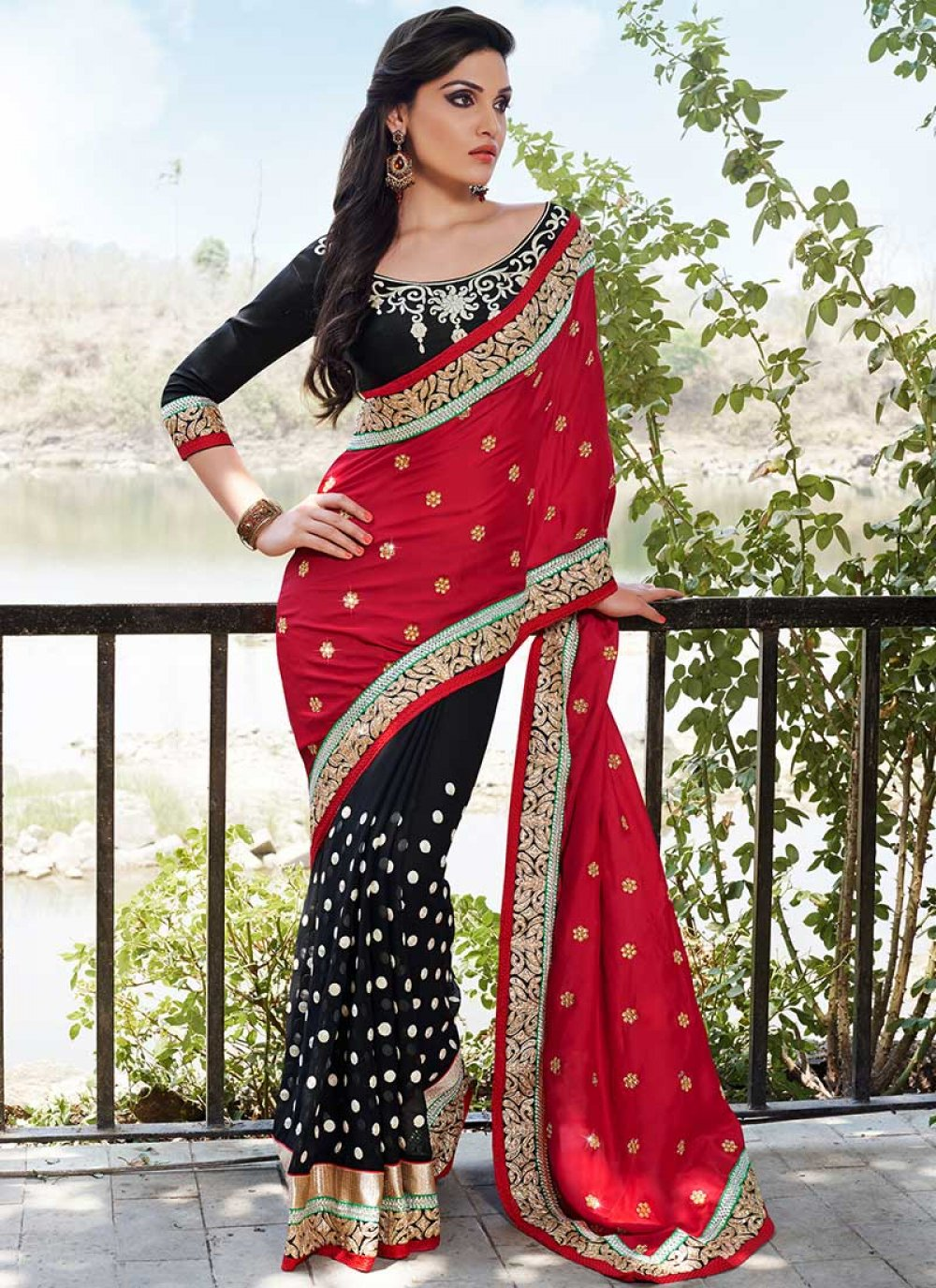 Red Georgette Embroidered Borders Saree