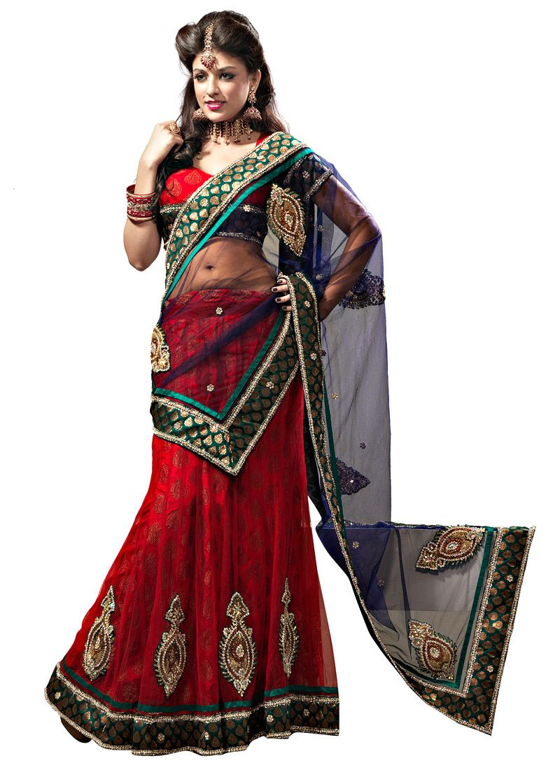 Red Net Flared Lehenga Choli with Dupatta