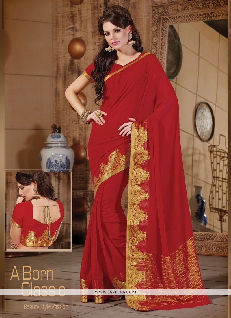 Red Patch Border Work Faux Chiffon Designer Saree