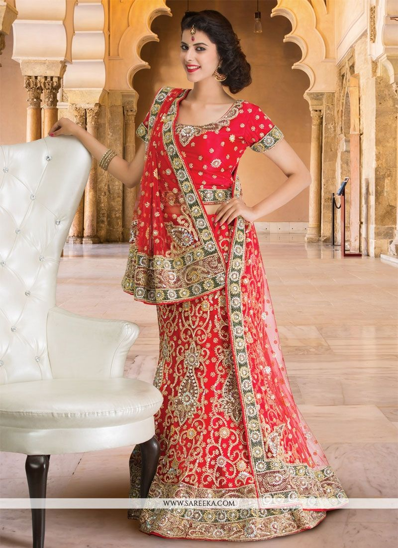 Red Resham Work A Line Lehenga Choli