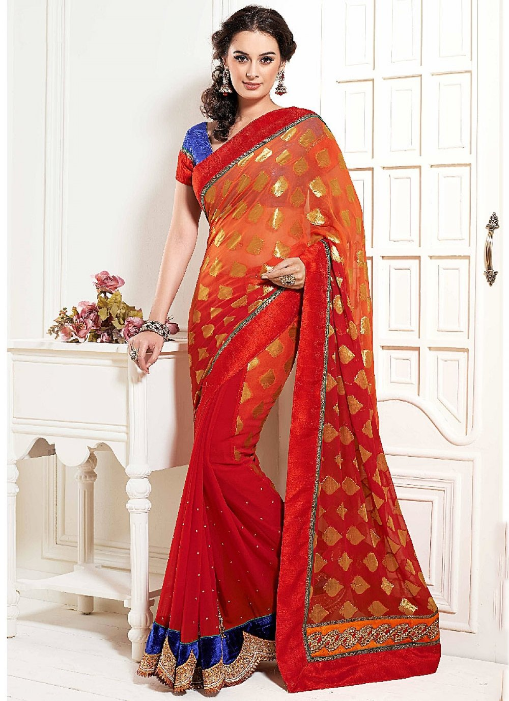 Red Resham Work Faux Georgette Designer Saree