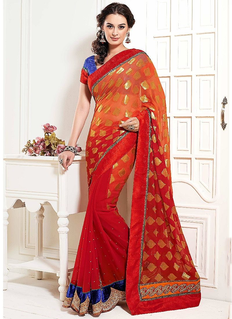 Red Resham Work Faux Georgette Designer Saree