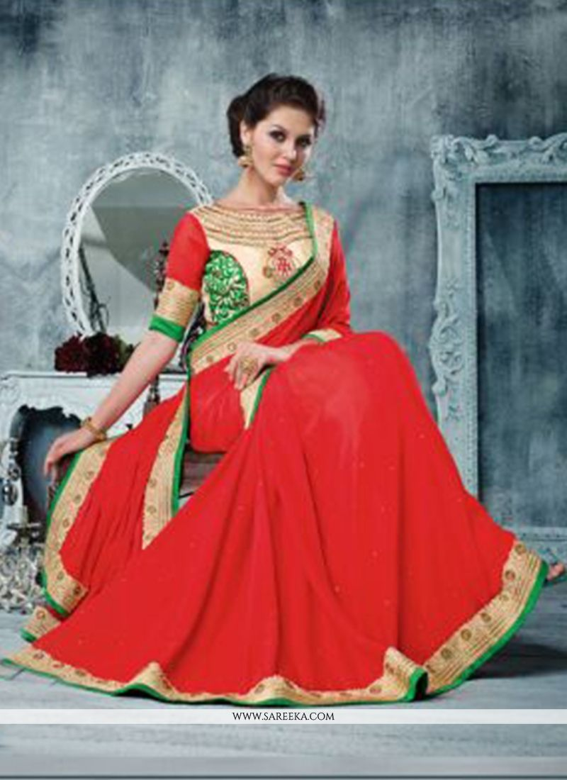 Red Silk Georgette Wedding Saree