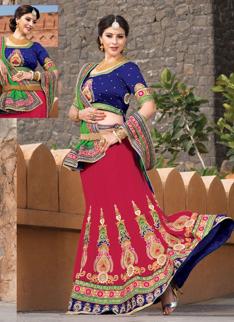Red Soft Net Wedding Lehenga Choli