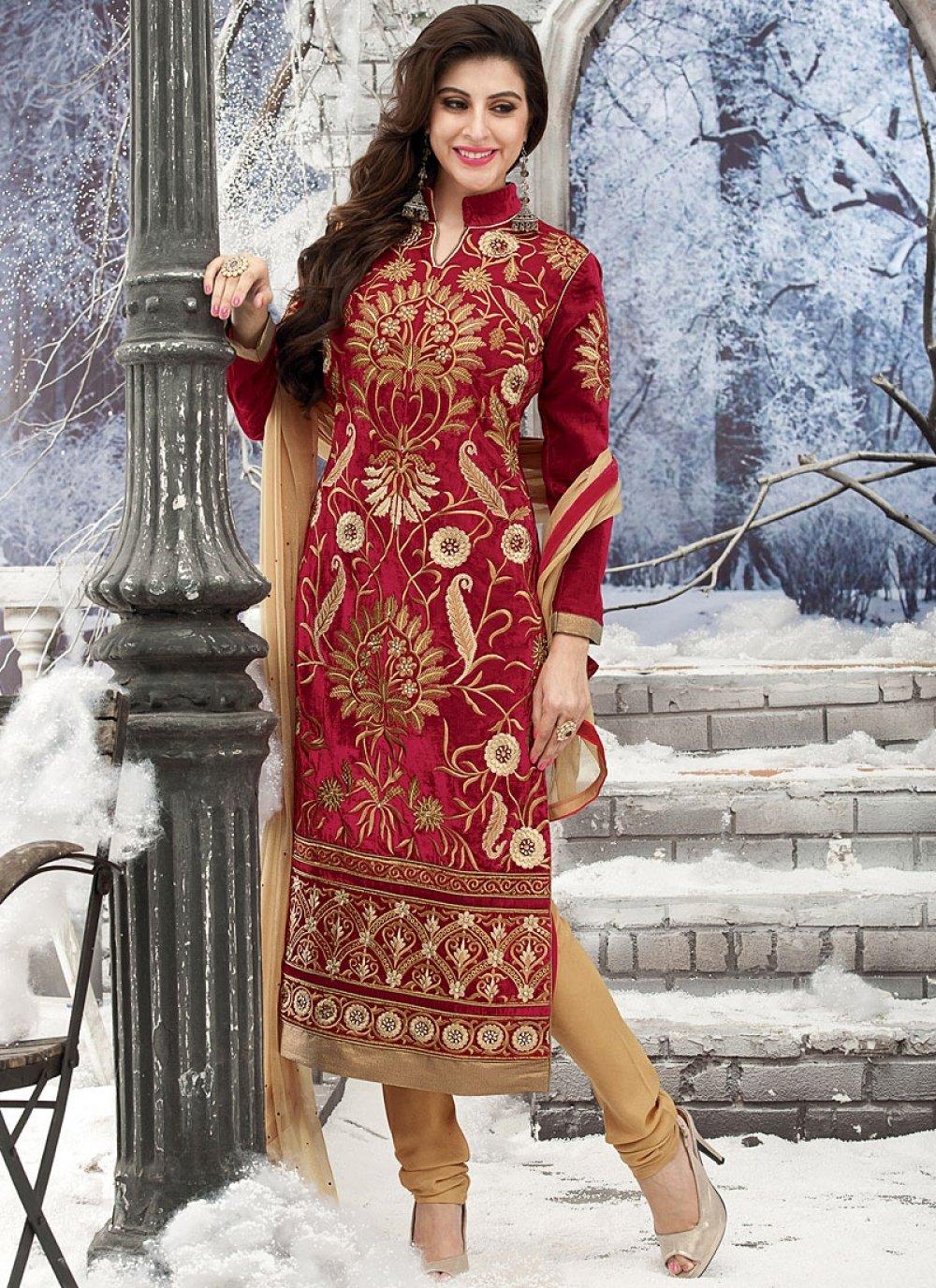 Red Velvet Churidar Salwar Kameez